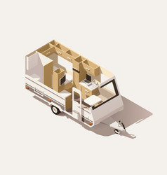 Isometric low poly camper trailer vector
