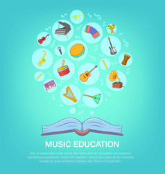 Musical instruments blue concept cartoon style vector