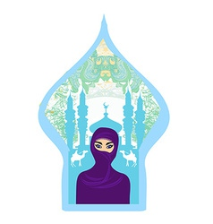 Portrait of a arabian woman in hijab with desert vector