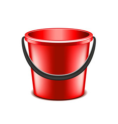 Red bucket isolated on white vector image vector image