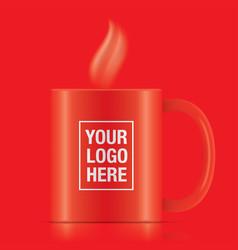 red coffee mug vector image vector image
