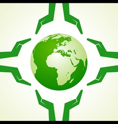 Save nature concept with earth and hand- il vector
