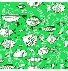 seamless pattern with underwater fishes vector image vector image