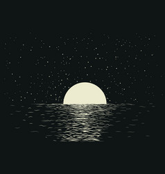 Seascape with moon at the night sea vector