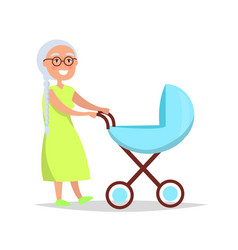 Senior lady with long grey braid carrying trolley vector