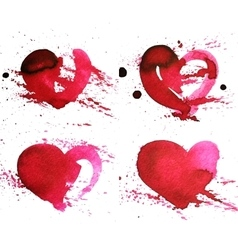 Set of four hand-drawn watercolour red heart vector image