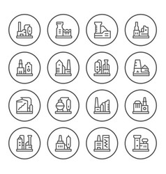 set round line icons of factory vector image