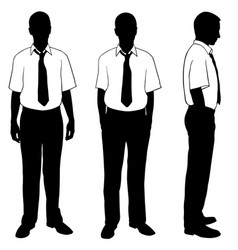 silhouettes of people posing in shirts vector image vector image