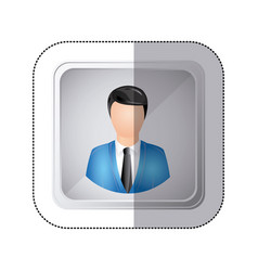 sticker silver square button with faceless vector image
