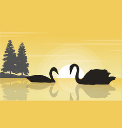 Swan on lake landscape silhouettes vector