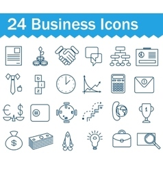 Thin line business icons set outline icon vector