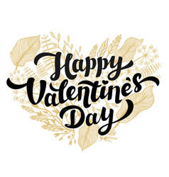 valentines day card design lettering and heart vector image vector image