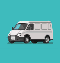 white bus service cargo delivery bus van truck vector image