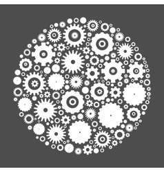 Cog wheels arranged in circle vector
