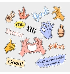 Fashion patch badges hands set stickers pins vector