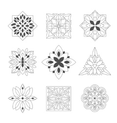Regular shape doodle ornamental figures in black vector