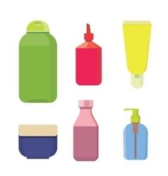 Cosmetic bottles color set beauty shampoo vector