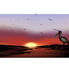 A sunset with a flock of birds vector image