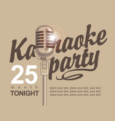 banner with microphone for karaoke parties vector image