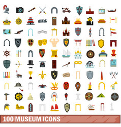 100 museum icons set flat style vector image
