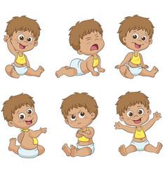 Set of cute little babies vector