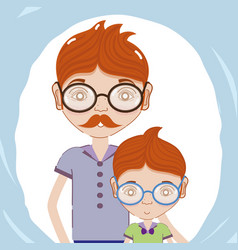 Father with his son using glasses vector