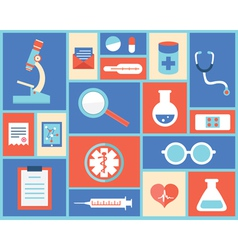 Flat medical symbols and instruments vector