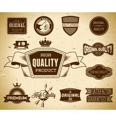Set of vintage labels on the cardboard collection vector