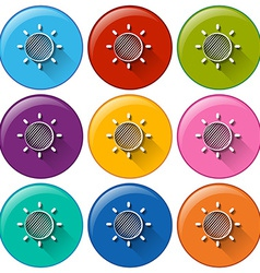 Circle buttons with a sunny weather vector