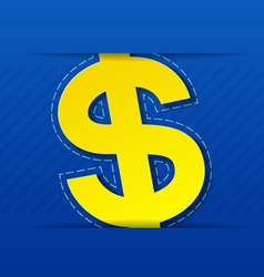 Yellow dollar sign on blue background vector