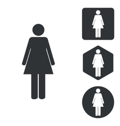 Woman icon set monochrome vector