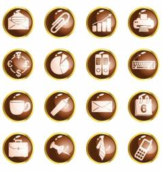 round brown high-gloss office buttons vector image