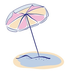 Summer Beach Parasole or Umbrella Hand Drawn vector image