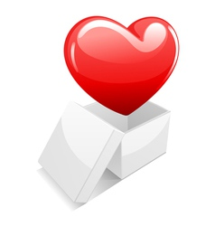 open white gift present box with heart vector image
