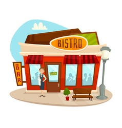Cafe bistro building front view cartoon vector