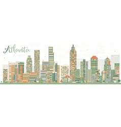 Abstract atlanta skyline with color buildings vector