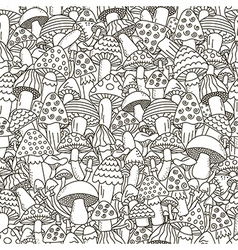 Doodle mushrooms seamless pattern vector