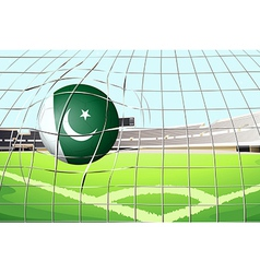 A ball hitting a goal with the Pakistan flag vector image