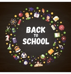 Back to school flat design icons circle vector image
