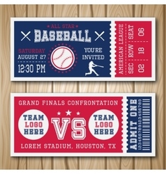 Baseball Blue Red Tickets vector image