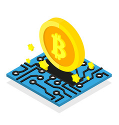Bitcoin coin mining cryptocurrency isometric vector