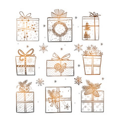 christmas gift boxes on white glowing background vector image