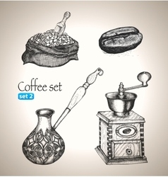 Coffee set bean bag mill cezve vector
