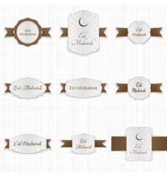 Eid mubarak greeting labels set vector