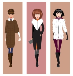Fashionable woman in winter clothes vector image