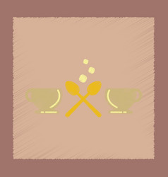 Flat shading style icon coffee cups vector
