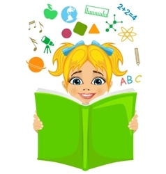 Girl reading a book with education related icons vector image