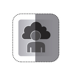 Gray cloud person technology icon vector