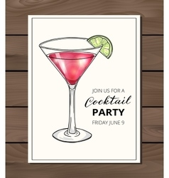 Hand drawn cocktail in martini glass with lime vector image