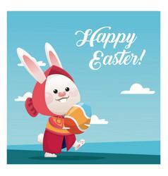 Happy easter cute girl bunny egg blue sky vector